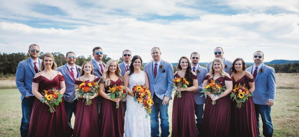 This bride and groom had a beautiful outdoor fall wedding.